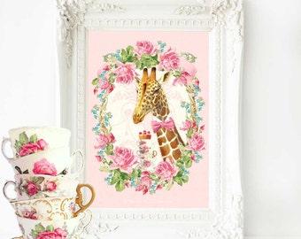 Giraffe anthropomorphic art print, pink nursery wall decor, A4 giclee