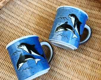 Set of 2, Vintage Orca Whale Coffee Mugs, Stoneware Mugs, Whale Mug, Orca Mug, Ceramic Coffee Cup, Whale Lover Gift, Ocean Beach House Decor