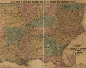 Poster, Many Sizes Available; Civil War Map Border & Southern States 1861