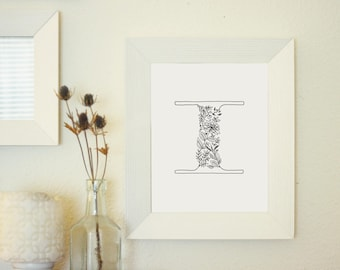 Floral Letter I - Monogram Wall Art Printable - Floral Typography Print - Botanical Gallery Wall Art
