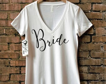 Bride Shirt, Bride V-Neck, Bride To Be Shirt, Wedding Day Shirt for Bride, Getting Ready Shirt, Bride, Tee, Bride T-Shirt, Wifey Shirt, Mrs