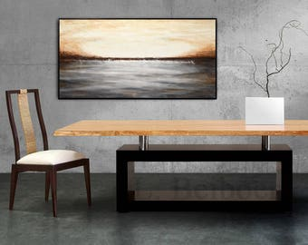 24 x 48 large Landscape painting art modern abstract gray brown abstract minimalist raw abstract acrylic painting - L. Beiboer