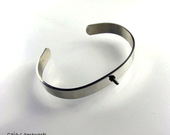 Stainless steel interchangeable bangle, removable bracelet, removable bangle with screw thread, M 2,5 thread for top's