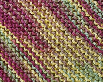 Handmade Knitted Dishcloth - Autumn Leaves Ombre