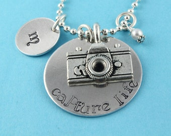 SALE - Capture Life Camera Initial and Birthstone Necklace - Silver Necklace - Handstamped Personalized Necklace - Mother's Day Gift
