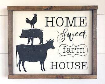 Large Wood Sign - Home Sweet Farmhouse - Framed Wood Sign - Farmhouse Sign - Farm Decor - Farm Animals - Home Decor - Gift