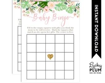Tropical Baby Bingo / Tropical Bridal Bingo / Luau Baby Bingo / Luau Bridal Bingo / Flower Baby Bingo / Pink Green Baby Bingo TP01