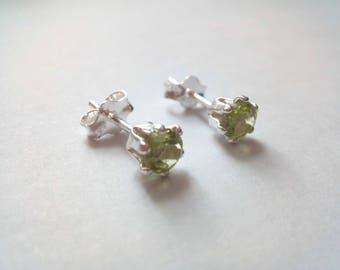 Peridot Stud Earrings, August Birthstone Studs, Green Peridot, 4mm Earrings, Sterling Silver Studs, Gemstone Earrings, Gift for Her