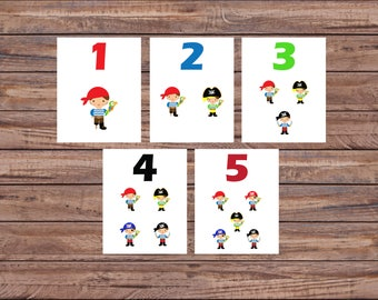 Flash Cards, Pirates, Number Cards, Educational Toys, Learning Toys, Printable Cards, Kindergarten, Instant Download, Printable Download