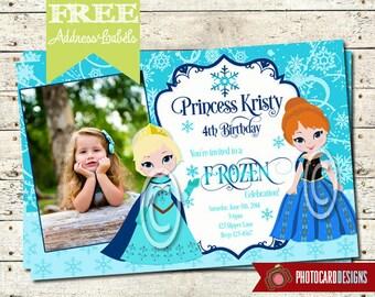 FROZEN ELSA and ANA Birthday Photo Invitation Card   Olaf   Disney   Halloween   Printable   Print file   invite   Elsa   Ana   Frozen Party