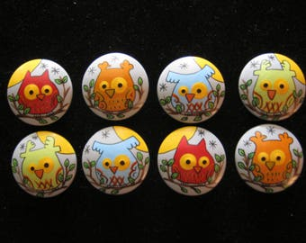 Set of 8 Owls - GREY Knobs with SKIP HOP Tree Top Colors - Hand Painted Wooden Drawer Knobs - Great for Kid's Room, Nursery or Office