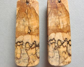 large Earrings, Spalted Hackberry Exotic Wood long rectangle Dangle by ExoticWoodJewelryAnd handcrafted ecofriendly