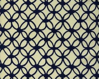 Macrame Knotty Navy 100% Cotton Fabric Cotton + Steel, Navy and White Trellis Fabric