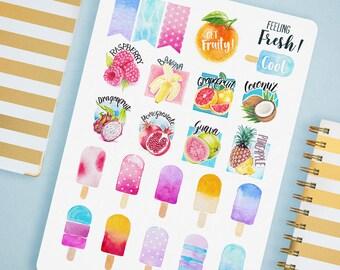 Planificateur d'été autocollant feuille - autocollants de fruits, nourriture autocollants, autocollants aquarelle, Popsicle Stickers, Stickers calendrier, Mini autocollants