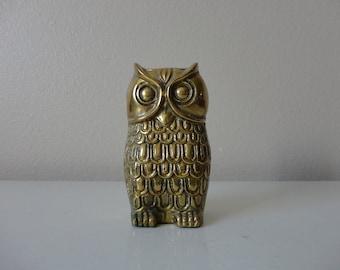 VINTAGE brass OWL figurine - owl decor - owl paperweight