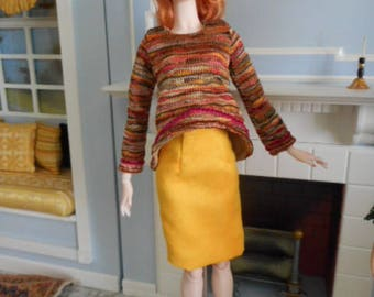 "Separates in Golds- Trapeze Top, Faux Suede Skirt, Beret. Socks for 16"" dolls"