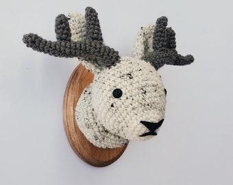 "Ready to ship - Jackalope Faux Taxidermy, Crocheted (5""x7"")"