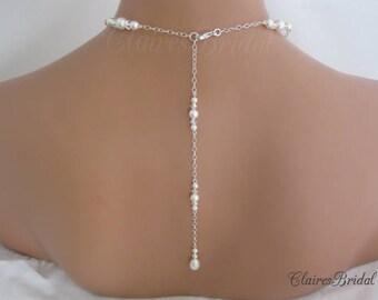 Pearl Backdrop Necklace Wedding Jewelry Bridal Necklace Swarovski Pearl and Crystal Bridal Jewelry