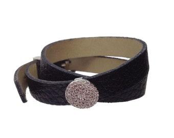 Leather Wrap Bracelet With Rhinestone Detail
