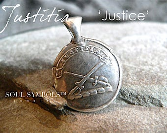 JUSTICE, INTEGRITY Wax Seal Stamp Pendant, Mens Talisman Jewelry, LATIN, Crossed Swords, Sterling Charm, Your Daily Jewels, Jewellery