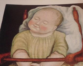 Vintage Folk Art Print - Baby in Red Chair - Fine Art - Folk Art Print - 1950s ephemera