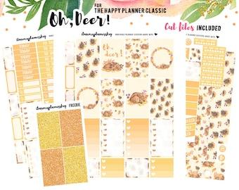 Printable planner stickers, Happy Planner Stickers, Fall Planner Stickers, Weekly Planner Kit, Silhouette Cut Files, Deer Planner Stickers