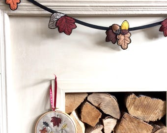 Autumn freehand embroidered decorative garland