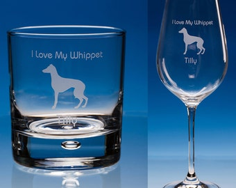 Whippet Wine or Whippet Whisky Glass, Personalised Gift, Whippet Lover Gift, Dog Lover Gift, Whippet Gift, Whippet Wine Glass, Whippet Dog