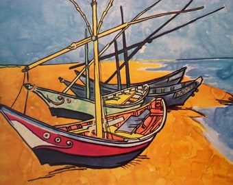 Van Gogh - Boats on the Beach -  Beautiful art print - for sailors beach lovers artists art lovers  - 8 by 10 print wall art