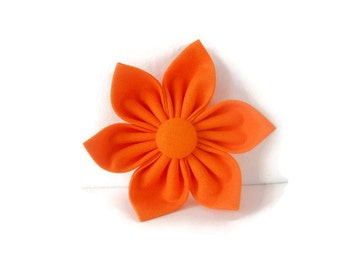 Orange dog flower- orange polka dot bowtie, orange pet flower or bow, collar flower, orange bowtie
