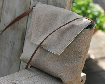 Linen + Polyester Crossbody Shoulder Bag, Shoulder Bag,Crossbody Handmade Fabric Bag, Handmade Gift , Beige  Shoulder Bag,