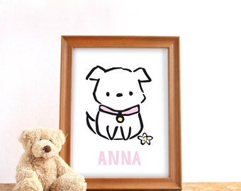 Personalized name poster, digital download, Baby girl name print, Cute puppy, Nursery print, Baby birthday gift, Custom name print, PDF