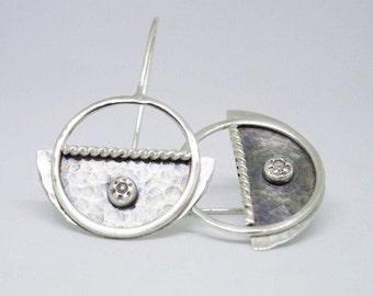 Dangle earrings, Sterling silver earrings, Silversmith earrings, Handmade , Boho earrings, Contemporary earring, Artisan earrings, Unique