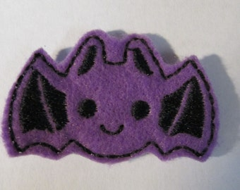 Felt Applique - Halloween Bat - Feltie - felt applique embellishment, hair bow center, hair clip feltie, scrapbooking embellishment