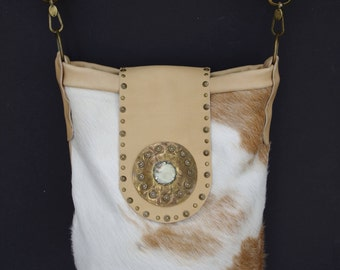 Leather Cowhide Boho Handbag Purse Bucket Bag + Vintage - EVA - Country, Cowgirl, Western, Rodeo, Tote, Handcrafted, Luxe, Bohemian