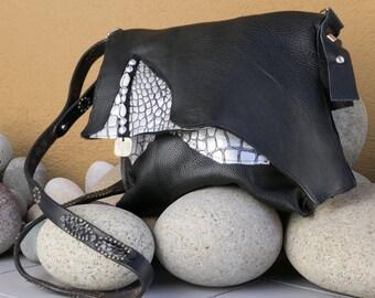 Black and Silver Leather Handbag - Handmade Purse