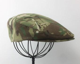 Multicam Nylon/Cotton Camouflage Flat Jeff Cap, Ivy Cap, Driving Cap