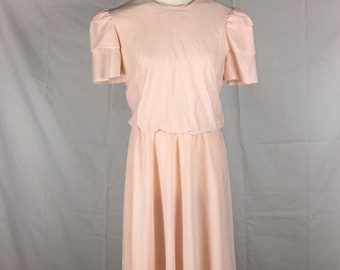 Peach vintage blouson style dress with ruffled cap sleeves