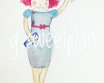 Watercolor girl with Balloons digital print