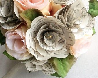 Harry Potter Bouquet, Book Page Bouquet, Book Page Boutonniere, Book Bouquet, Book Flowers, Paper Roses (ITEM: TPG55D)