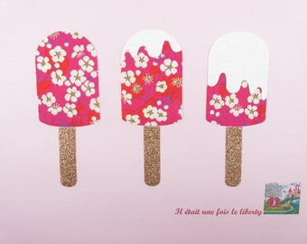 Applied fusing 3 Eskimos liberty Mitsi hot flex and pink glitter patch iron patches ice creams applied fusing beach