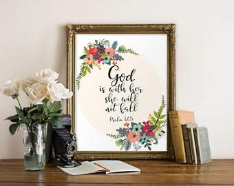 God is within her she will not fall Psalm 46:5 Printable wall decor Bible verses Nursery verse print decor scripture art printable BD-1001