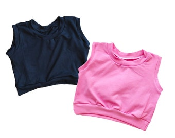 Solid Black or Bubbleum Pink Crop Top Tank for Baby Toddler Kid Child