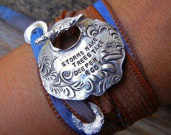 Custom Jewelry, Custom Silk Wrap Bracelet, Custom Quote Silk Wrap Bracelet, Custom Wrap Bracelet, Custom Jewelry Gift for Women, Bracelet