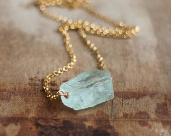 Raw Aquamarine Necklace, Crystal Necklace, Raw Stone Jewelry, Girlfriend Gift for Her, Aquamarine Jewelry, Boho, March Birthstone Necklace,