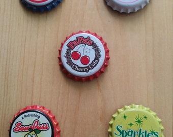 Vintage bottle cap magnets - set of 5
