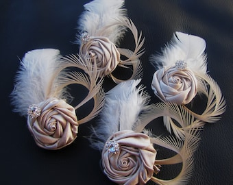 Set of 4 Bridesmaids' Fascinators, wedding party headpieces - Champagne Satin rosettes with Ivory goose feathers and rhinestones