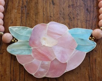 Vintage 1970's Inlay Mother of Pearl Shell Flower Necklace with Pink Wood Beads