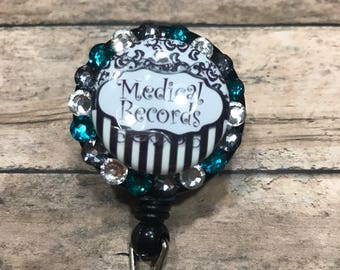 Medical records - retractable badge reel - badge reel - badge clip - ID card holder - badge holder