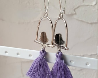 Earrings swing with birds and tassels